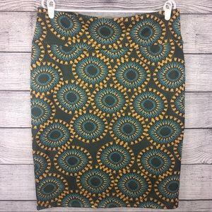 Lularoe Cassie Skirt Green Yellow Pattern 3XL